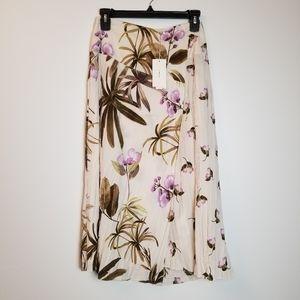 Vince Mixed Tropical Garden Crepe Midi Skirt Sz 0